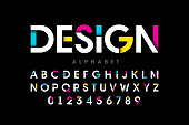 Modern bright colorful font, alphabet letters and numbers, vector illustration