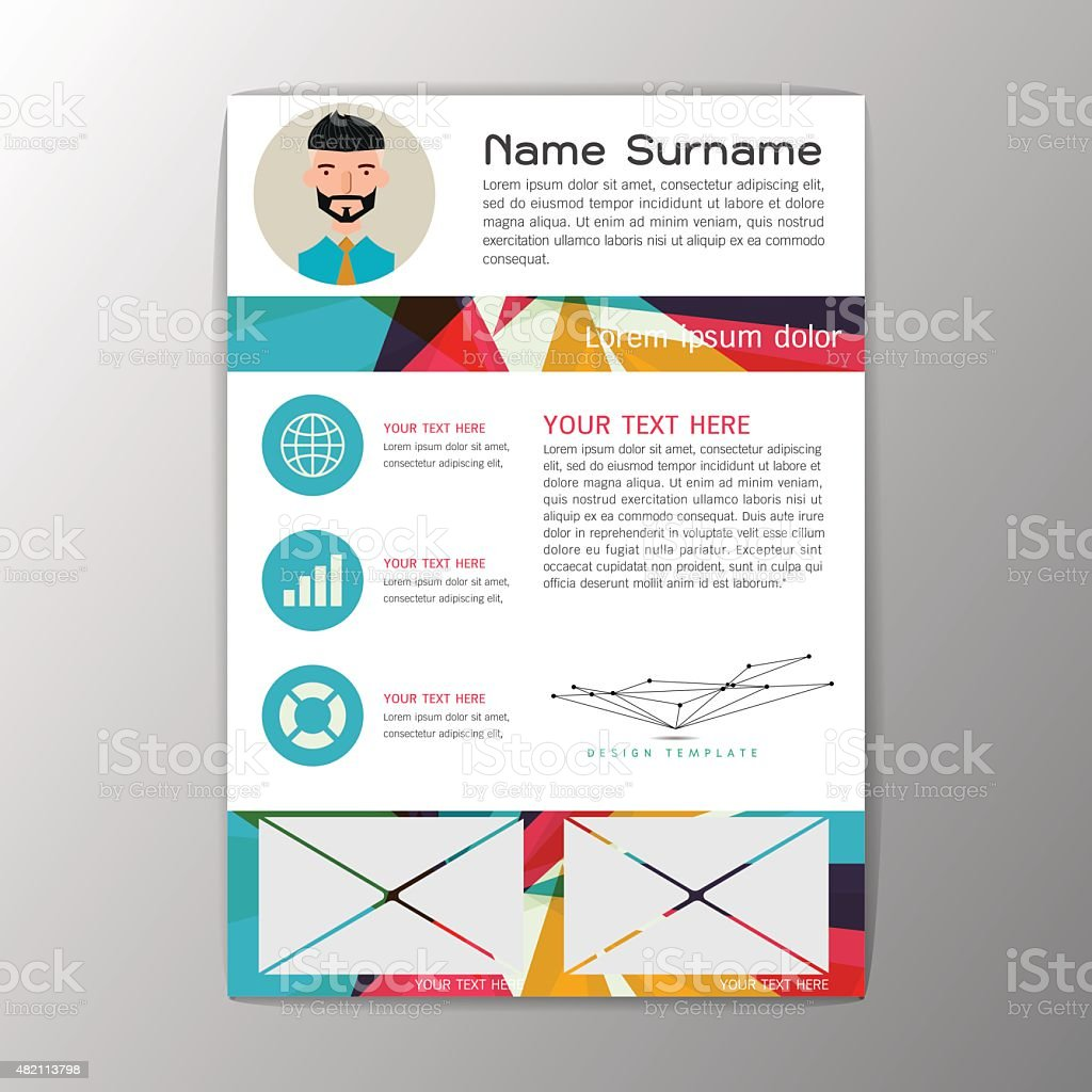 modern brochure business flyer design resume template abstract background vector stock
