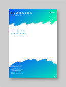 istock Modern brochure design with watercolor painting, book with color stain, vector grunge stock illustration 1281484294