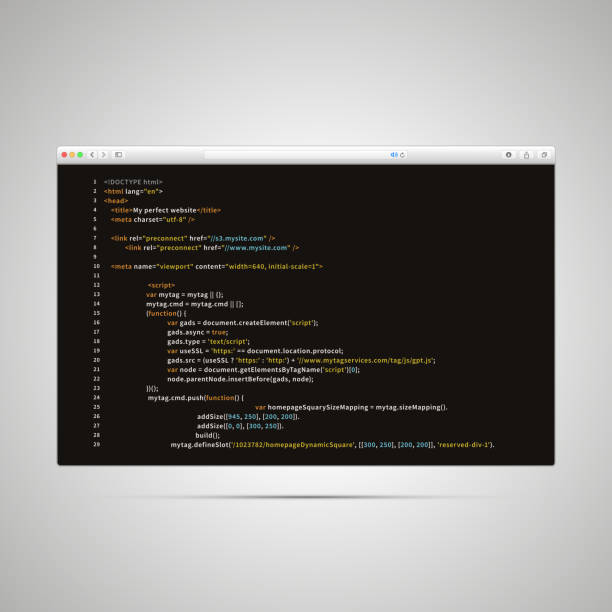 Modern browser with simple html code of web page on black background Modern browser window with simple html code of web page on black background html stock illustrations