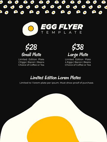 Modern Brunch Menu or Breakfast Eggs Promo Flyer or Leaflet Poster on Black Background with Giant Egg Yolk