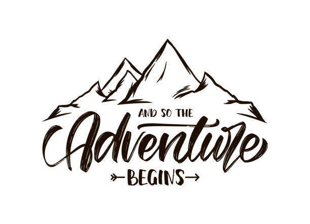 Modern brush lettering of And so the Adventure Begins with Hand drawn Peaks of Mountains sketch Vector illustration: Modern brush lettering of And so the Adventure Begins with Hand drawn Peaks of Mountains sketch mountains stock illustrations