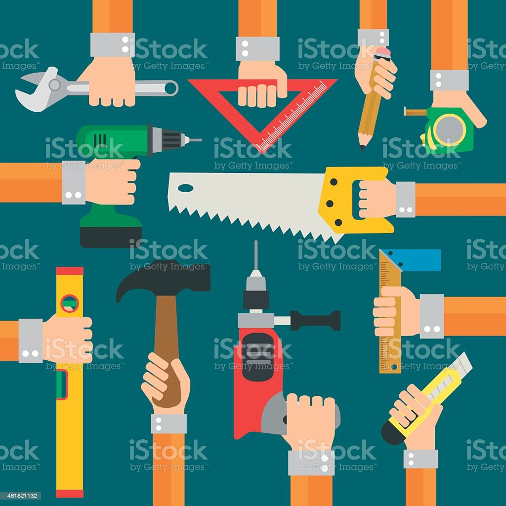 Modern Builders flat background with hand vector art illustration