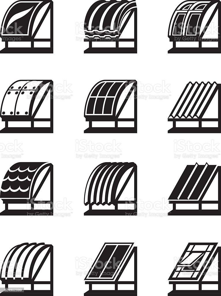 Modern building materials for roofs vector art illustration
