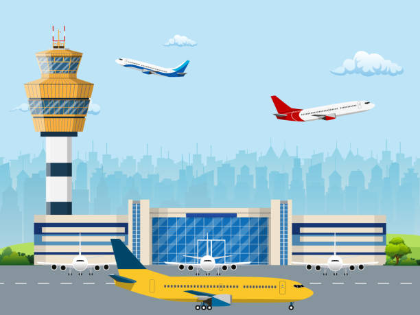 Modern building of airport terminal Modern building of airport terminal with control tower. Runway with planes. Vector illustration in flat style airport stock illustrations
