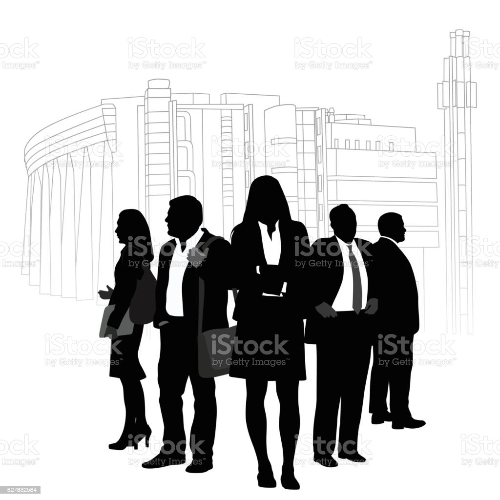 Modern Building Team vector art illustration
