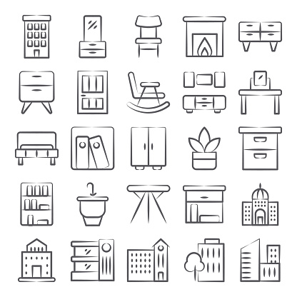 Modern Buildings Decorative Interiors Icons in Linear Style Pack