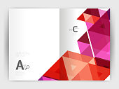 Modern business brochure or leaflet print cover template. Abstract background with color triangles. Vector design for workflow layout, diagram, number options or web design