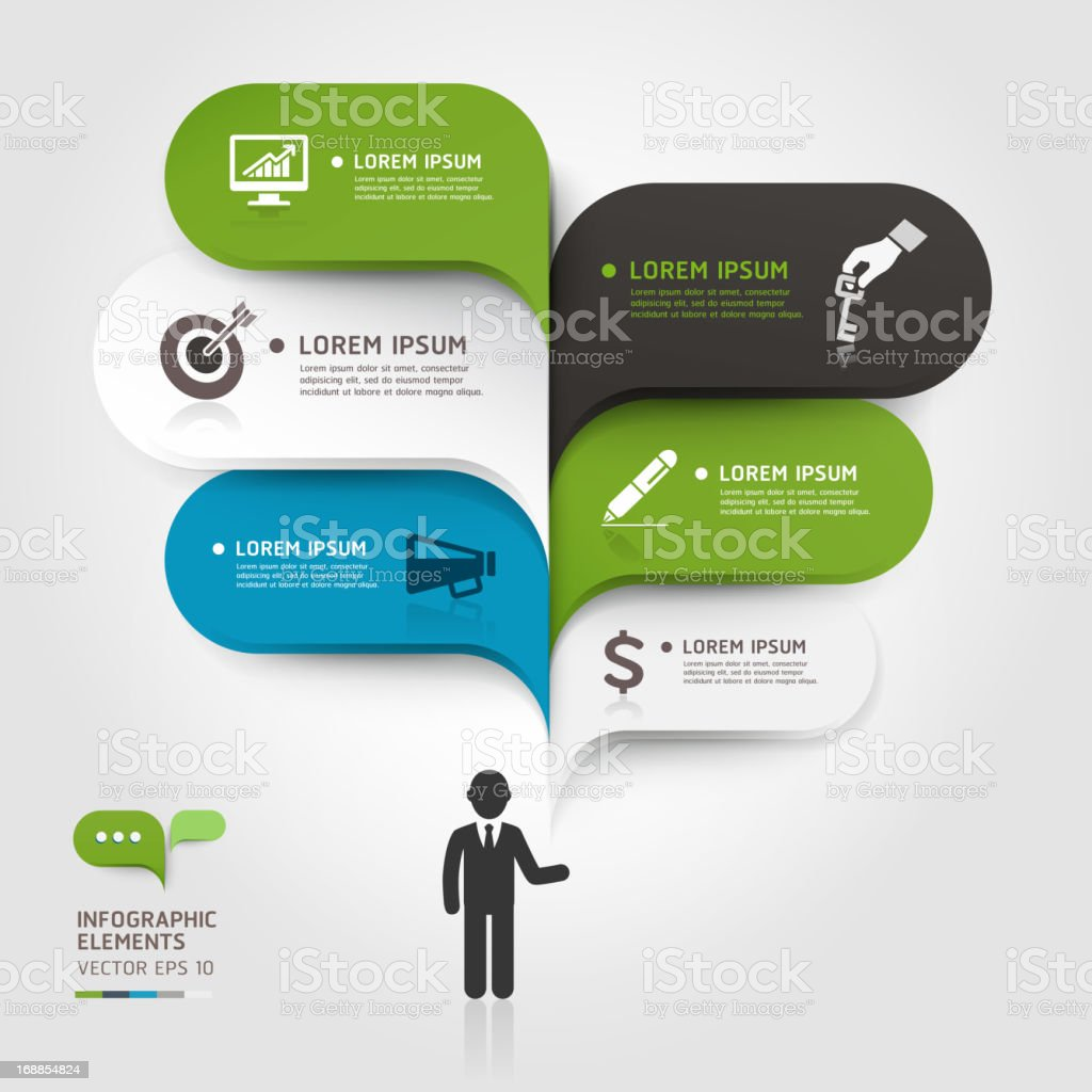 Modern business bubble speech over a black figure royalty-free stock vector art