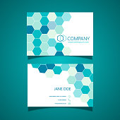 Modern business card design with hexagon pattern