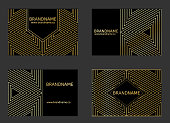 istock Modern Business Card Design with triangle geometric pattern. 1157100285