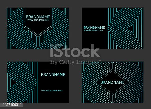 istock Modern Business Card Design with triangle geometric pattern. 1157100311