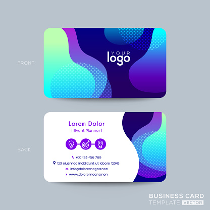 modern business card design with vibrant bold color graphic background