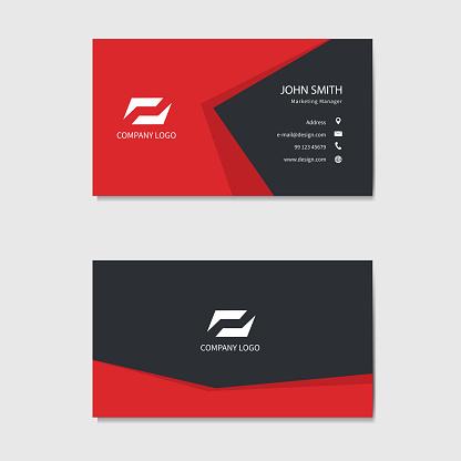 Modern business card template design. Red background. Vector illustration.