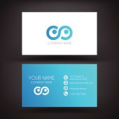Business Card template with blue color used.