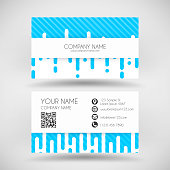 Modern business card with irregular rounded lines halftone transition. Blue and white abstract background. Business card template for your design. With space for your text and your background. The layers are named to facilitate your customization. Vector Illustration (EPS10, well layered and grouped). Easy to edit, manipulate, resize or colorize. Please do not hesitate to contact me if you have any questions, or need to customise the illustration. http://www.istockphoto.com/portfolio/bgblue
