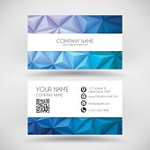 Modern business card with a modern geometric background. Abstract polygonal background - Low Poly, Geometric Vector.