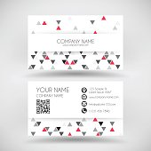 Modern business card with an abstract geometric background. Modern background with gray and red triangles.