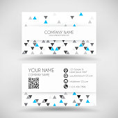 Modern business card with an abstract geometric background. Modern background with gray and blue triangles. Template for your design. With space for your text and your background. The layers are named to facilitate your customization. Vector Illustration (EPS10, well layered and grouped). Easy to edit, manipulate, resize or colorize. Please do not hesitate to contact me if you have any questions, or need to customise the illustration. http://www.istockphoto.com/portfolio/bgblue