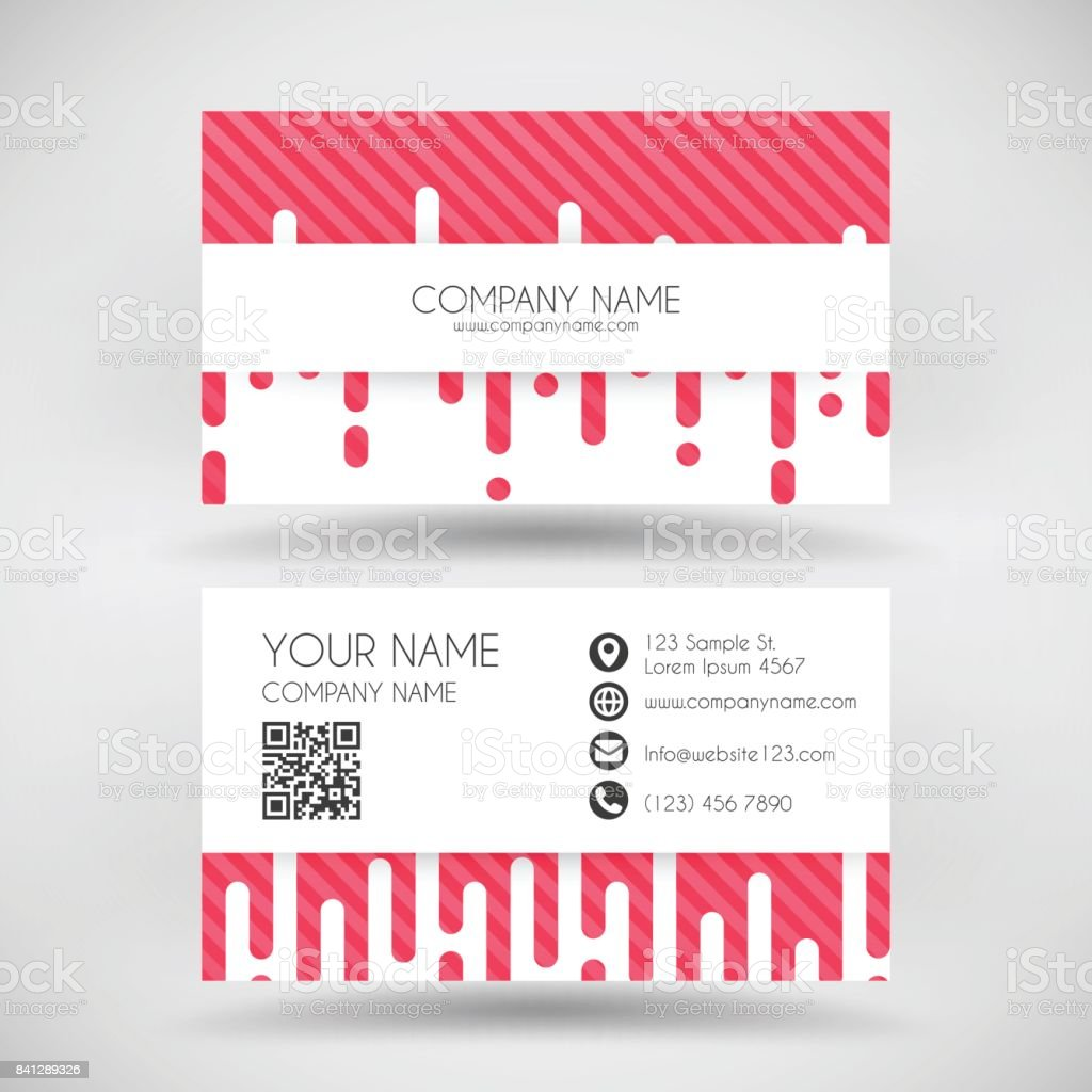 Modern Business Card Template With Abstract Red Background Stock ...