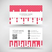 Modern business card with irregular rounded lines halftone transition. Red (pink) and white abstract background.