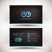Modern Business Card template. Blue color used on black background.