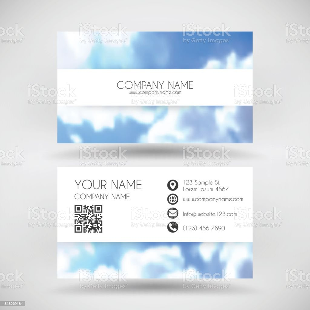 Modern Business Card Template With Blue Sky And Clouds stock – Telephone Number Template