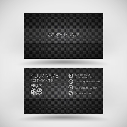 Modern business card template with carbon fiber background