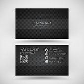 Modern business card with an carbon metallic background (carbon fiber texture).