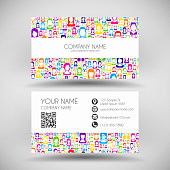 Modern business card with faces of colorful people.