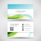 Modern business card with an abstract background. Blurred landscape, blue sky, nature, sea, with bright colors.