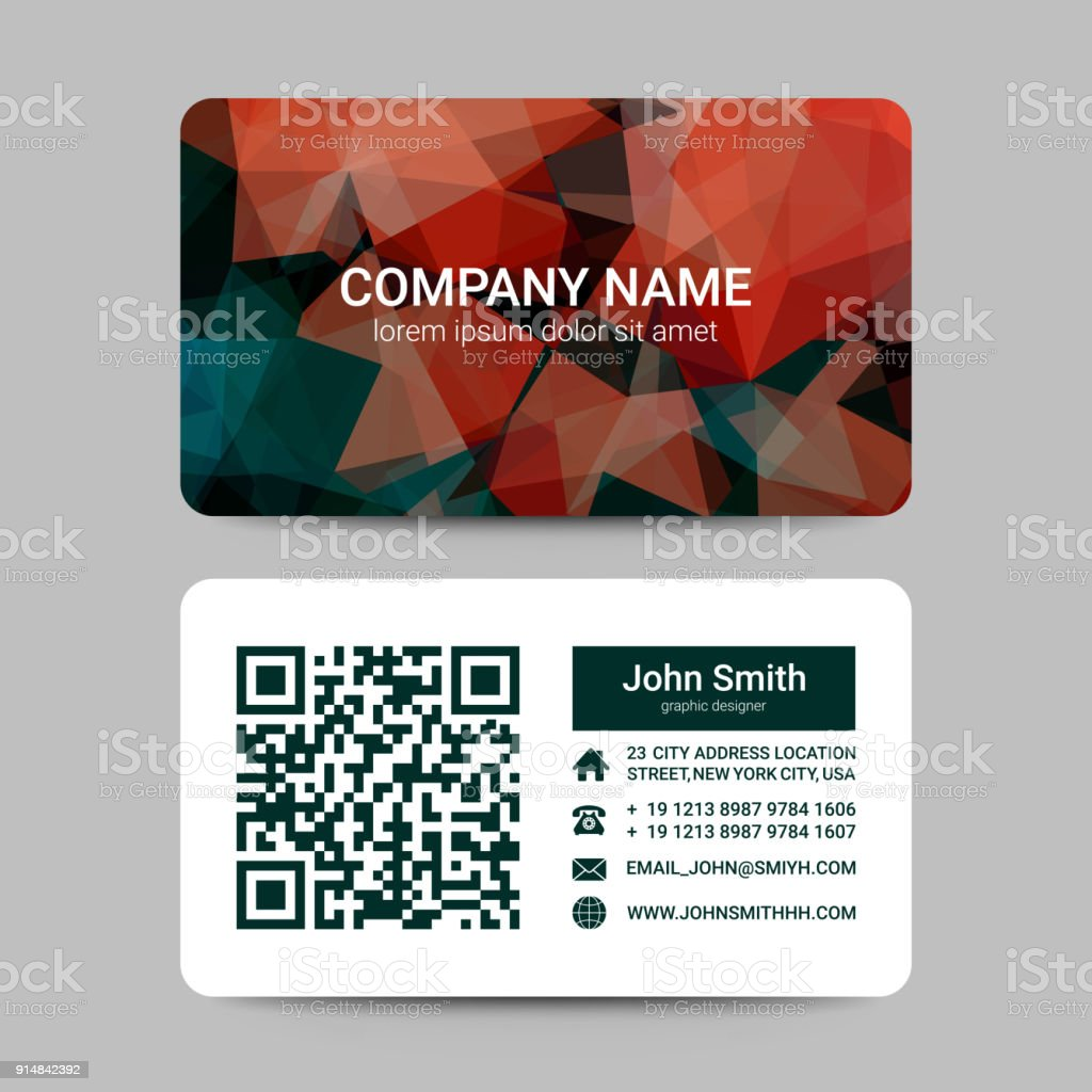 Modern Business Card Template With Geometric Shapes Vector Stock ...