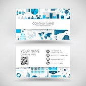 Modern business card with an infographic background (Infographic background with different elements like charts, pie charts, diagrams, time lines,...).