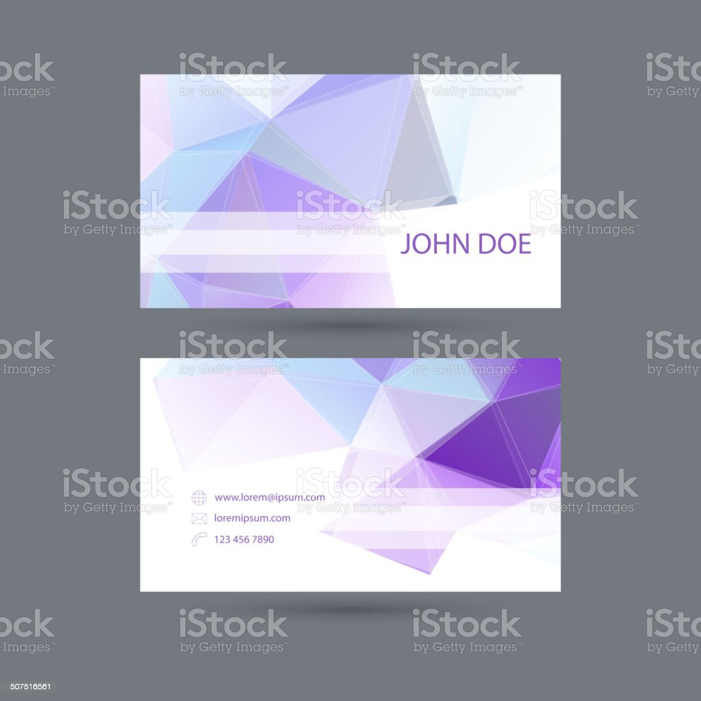 Modern  business card template with  polygonal mesh. vector art illustration