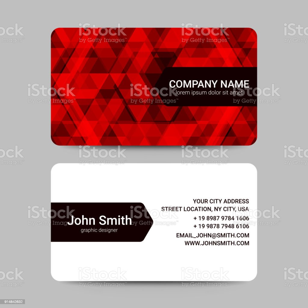 Modern business card template with red geometric shapes vector stock modern business card template with red geometric shapes vector royalty free modern business card accmission Choice Image