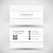 Modern business card with an abstract background. White pattern, hexagons background.