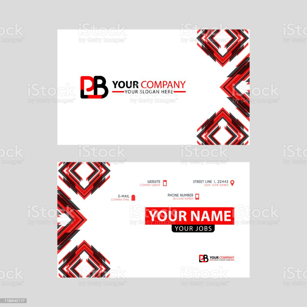 Modern Business Card Templates With Pb Logo Letter And Horizontal