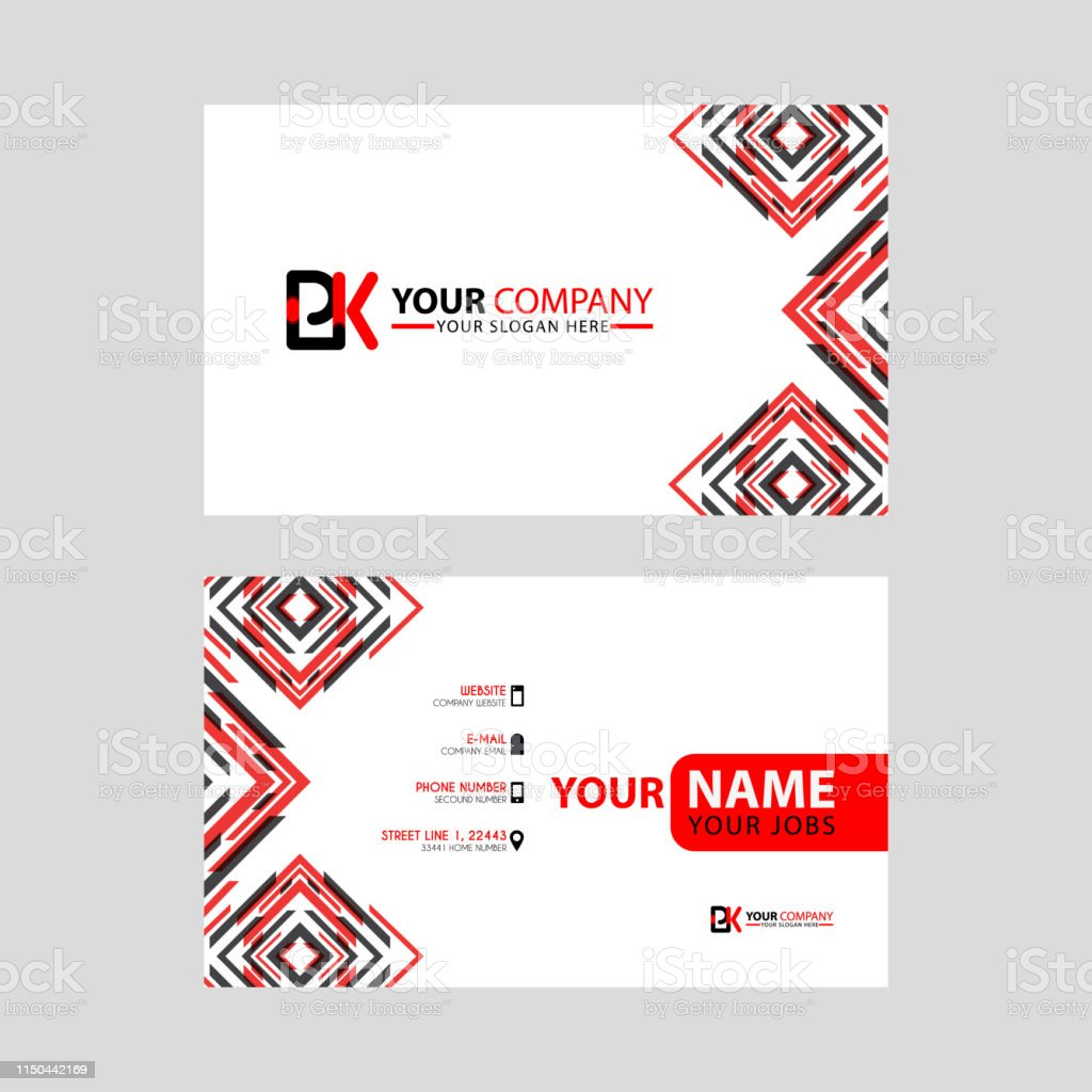 Modern Business Card Templates With Pk Logo Letter And