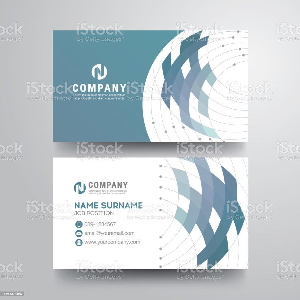Moderne Visitenkarte mit geometrischen blau grau - Lizenzfrei Abstrakt Vektorgrafik