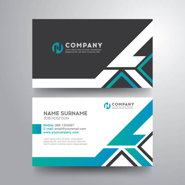 Modern business card with geometric blue gray green color Modern business card with geometric blue gray green color business cards templates stock illustrations