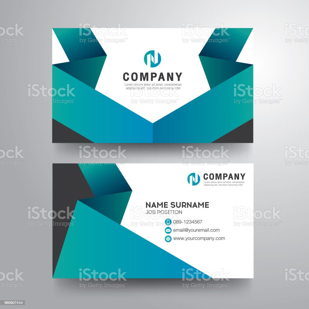 modern business card with geometric blue green color stock vector