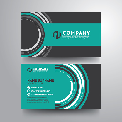 Modern business card with geometric circle green gray color