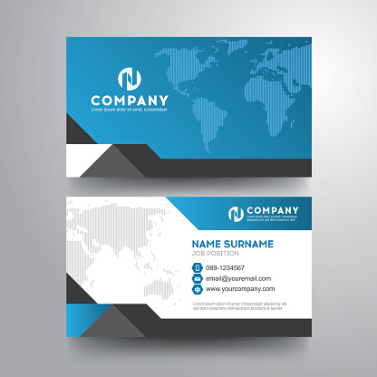 Modern business card with geometric world map blue gray color