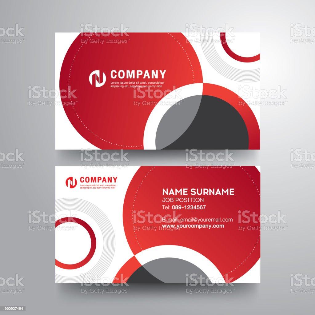 Moderne Visitenkarte Mit Roten Grauen Kreis Stock Vektor Art