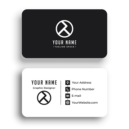 Modern Business Card with Two Sides Card. Company card.