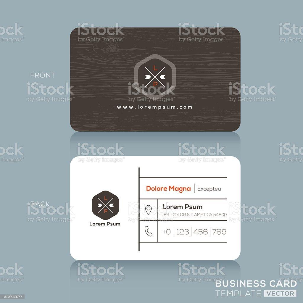 Modern Business cards Design Template with dark wood background vector art illustration