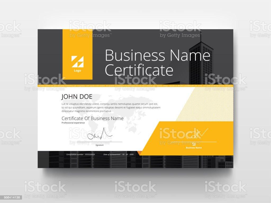Ein Modernes Business Zertifikat Vorlage Layout Mit Gelb Und Schwarz ...
