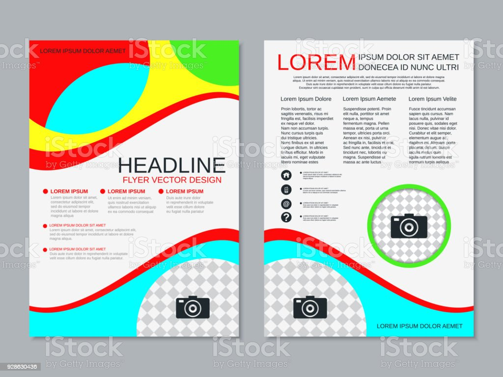 Modern Business Colorful Twosided Flyer Vector Design Template Stock ...