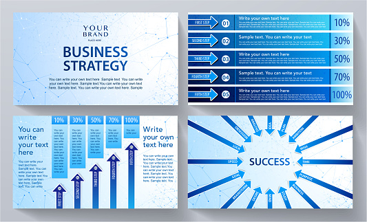 Modern business concept presentation design set (infographic). Creative blue contemporary background page
