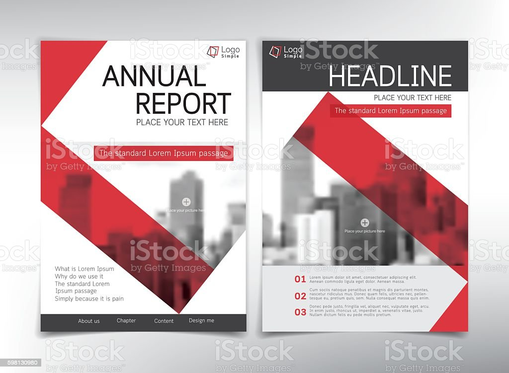 modern business cover page vector template red theme stock vector